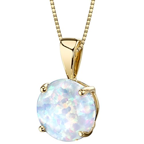 14 Karat Yellow Gold Created Opal Solitaire Pendant