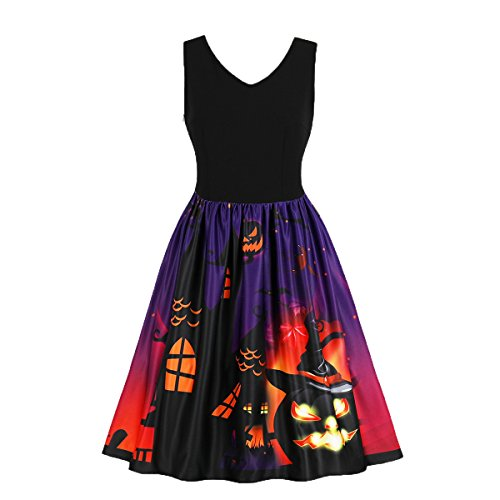 Wellwits Women's Vampire Castle Pumpkin Cats Bats Halloween Vintage Dress 81 -