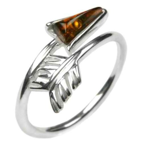 Alexandrite Sterling Silver Designer Ring (Honey Amber and Sterling Silver Arrow Ring, Size 7)