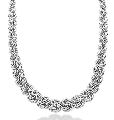 (MiaBella Italian 925 Sterling Silver Graduated Love Knot Rosette Link Chain Necklace 18