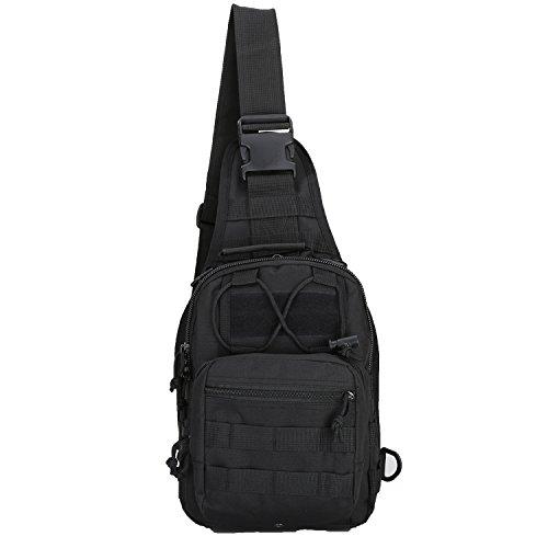 denlix Tactical Sling Bag Outdoor Chest Pack Shoulder Backpack Military Sport Bag for Trekking, Camping, Hiking, Rover Sling Daypack for Men Women (A1 Black)