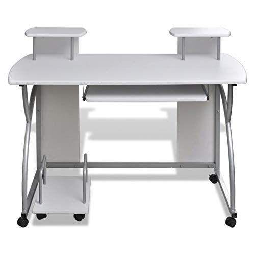 Pull Out Laptop Shelf - Tidyard Mobile/Computer Desk Pull Out Tray Laptops Desktops Storage with 2 Shelves Space Saving White Table Top Finish Furniture Office