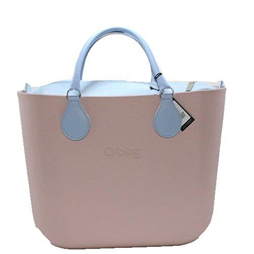 Borsa o bag grande rosa smoke con sacca monocolore celeste e manico corto carta da zucchero new collection (k)