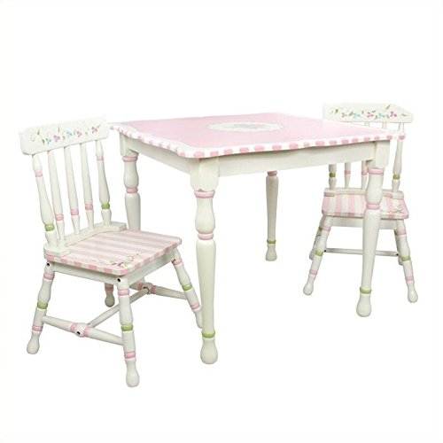 Teamson Design Corp Bouquet 4 Piece Girls Kitchen Play Set with Table and Chair in Pink