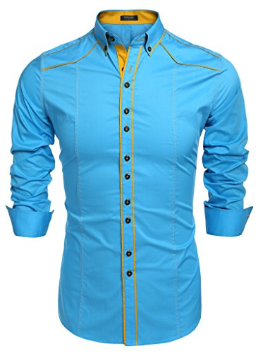 Coofandy Men's Button Down Dress Shirts Casual Slim Fit Shirts, Sky Blue, Medium Blue Formal Shirt