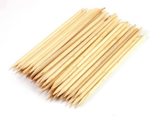 JOVANA 50 pcs Wood Stick Nail Art Orange Cuticle Pusher Remover