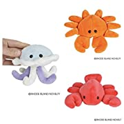 Just4fun Three (3) Adorable SEA LIFE 5  Plush - Red LOBSTER, Orange CRAB & Blue JELLYFISH Toys BEANIE Stuffed Animals STOCKING Stuffers GIFTS