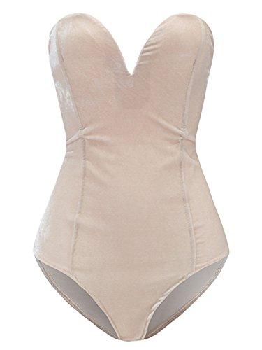 Plunging Sweetheart Back Lace up Velvet Bodysuit Beige S]()