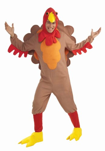 Forum Novelties Men's Adult Fleece Turkey Costume, Brown/Yellow/Red, Standard