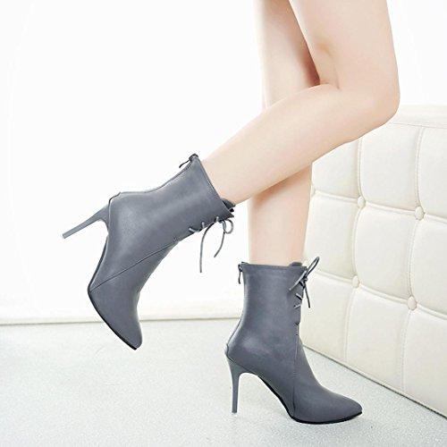 Femmes Bottes, Hatop Femmes Pompes Gladiateur Bottes Bout Pointu Lacets Talons Chaussures De Mariage Gris