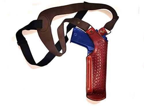 (Vertical Shoulder Holster Genuine leather Fits All 9 mm barrel Basketweave Shoulder)