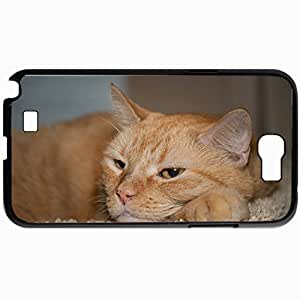 Personalized Protective Hardshell Back Hardcover For Samsung Note 2, Cat Design In Black Case Color