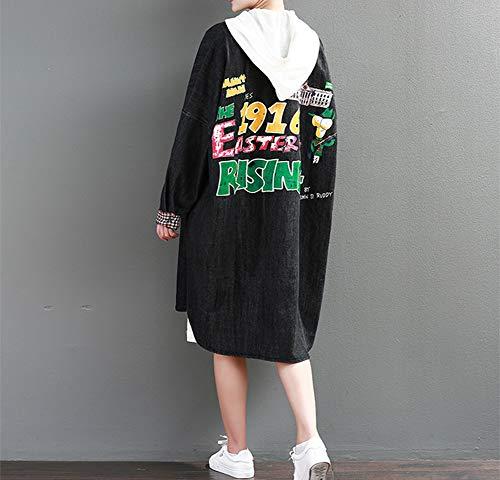 Femme Litt Coupe Revers Mode Manteau Long Paragraphe Vent Impression Lettre Casual adnqqCxgwv
