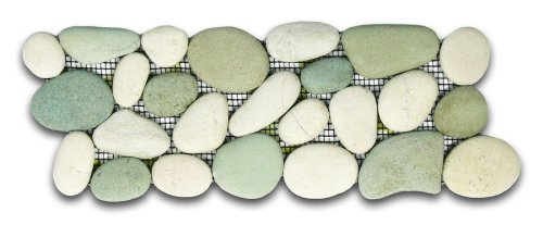 Sea Green and White Pebble Tile Border 1 piece (Mesh Mounted)