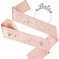 Konsait 8 Pack Rose Gold Bachelorette Bride to be Headband Tiara Bride to be Sash Team Bride Sash Crystal Tiara Bride…