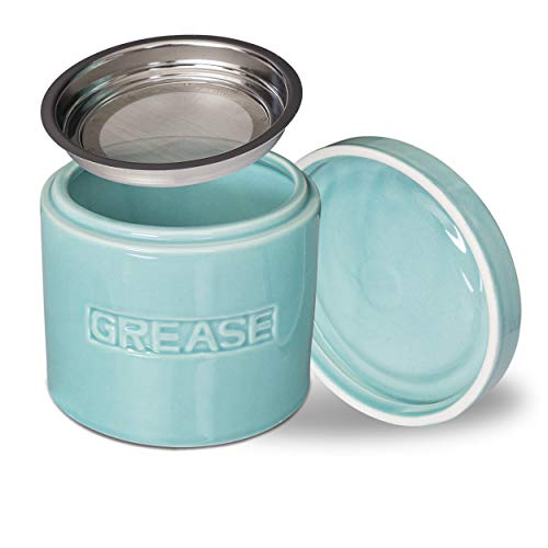 MINT GREEN Bacon Grease Oil Container Storage Can Keeper w/Stainless Strainer Pour Spout Ceramic Porcelain Stoneware Fat Separator Filter Multiple (Green Porcelain Jar)