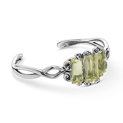 925 Silver & Lemon Quartz Cuff Bracelet - Small