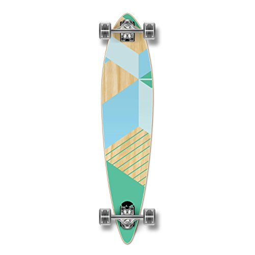 Yocaher Geometric Series Longboard Complete Cruiser and Decks Available for All Shapes (Complete-Pintail-Green) ()
