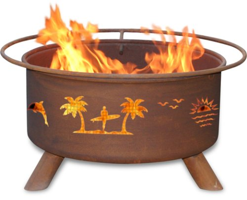 Patina Products F117,  30 Inch Pacific Coast Fire Pit - Natural rust patina finish ages beautifully over time Wire mesh lines the inside of the firepit to prevent sparks and embers escaping through the cutout design Five-year warranty: Fire pits guaranteed not to burn through or rust through for five years. - patio, fire-pits-outdoor-fireplaces, outdoor-decor - 41MeyzaJFFL -