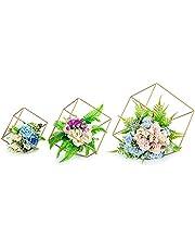 Nuptio 3 Stukken Bloemenvazen voor Tafel, Metalen Zeshoekige Bloemenstandaard, Centerpieces voor Bruiloftstafels, Geometrische Bloemenstandaard voor Kerstfeest Verjaardag Huisdecoratie