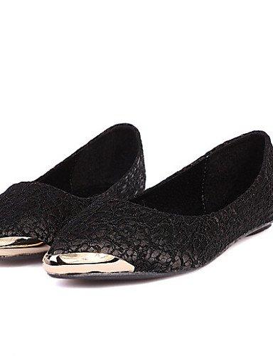 negro 5 red Toe de talón rojo PDX Flats eu37 5 uk4 de Toe us6 mujer zapatos comodidad 7 5 Casual señaló plano cn37 Beige cerrado O8xqgaxdw