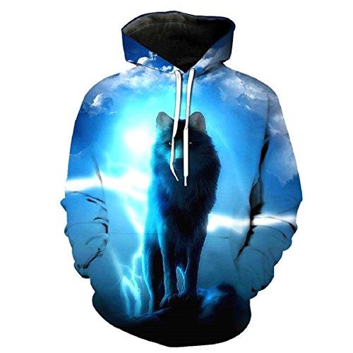 Blouse Top Style Unisexe shirt Capuche Pochette 1 Veste Avec À Loup Imprimé Sweat Acvip zagqw5q