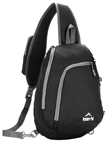 Venture Pal Sling Shoulder Crossbody Bag Lightweight Hiking Outdoor Travel Backpack Daypacks (Black)