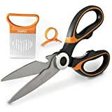 Ultra Sharp & Professional Kitchen Scissors, German Stainless Steel Kitchen Shears with Cover Blade + Onion Slicer and Orange Peeler, Multipurpose Kitchen Scissors for Chicken, Meat, Vegetables & More