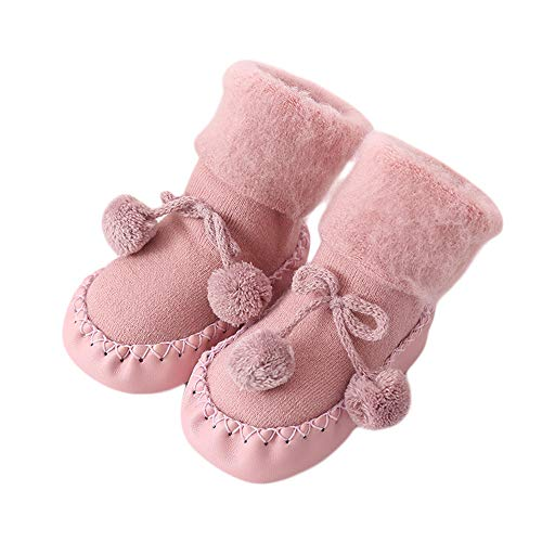 (VEKDONE Baby Boy Girls Cable Knit Slipper Socks with Non-Skid Gripper Soles)