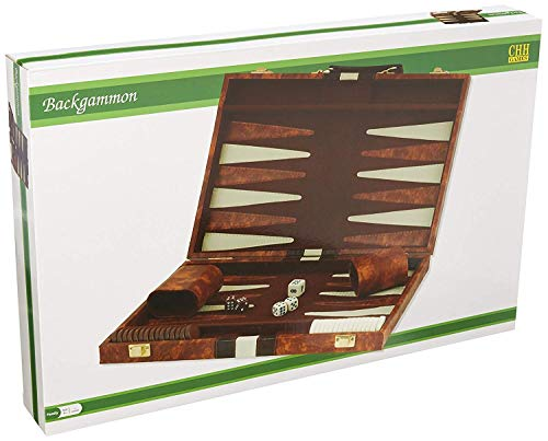 "14.75"" Recreational Board Game Vinyl Backgammon Set - Brown & White"