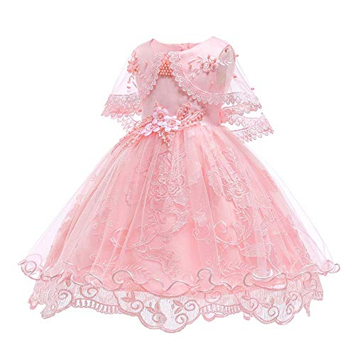 SOVIKER Girls Princess Gowns Party Formal Dance Evening Dress Embroidery Tulle Lace Flower Princess-1152-Pink-130