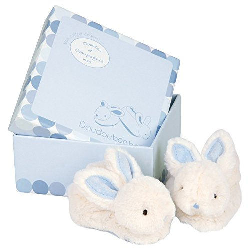 White & Blue Bunny Booties With Rattles