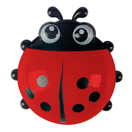Saim Cute Cartoon Ladybug Kids Wall Suction Cup Mount Toothbrush Holder Container Red