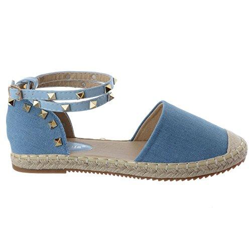 Rock Chaussures Bride Femmes Sandales Cheville Bleu Espadrilles Jean Été Clou Dames Plat Pointure wTqBnzIT
