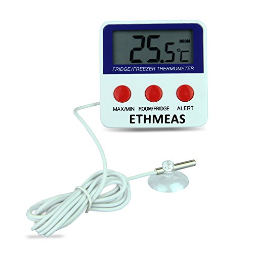 ETHMEAS Digital Refrigerator Fridge Thermometer, Freezer Room Thermometer with High and Low Alarm,Max/Min Record (Low Thermometer)