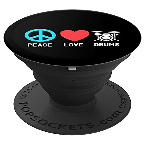 Drums Gift Peace Love Drums Gifts for Drummers - PopSockets Grip and Stand for Phones and ()