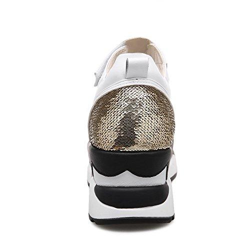 VogueZone009 Women's Hook-and-Loop Open Toe Kitten-Heels Assorted Color Sandals Gold GxGh0aBtGp