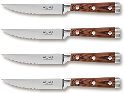 Ausker Steak Knife Set, Stainless Steel with Highly Resistant and Durable Pakkawood Handle, for Pizza or Steak (Pack of (Pakkawood Steak Knives)
