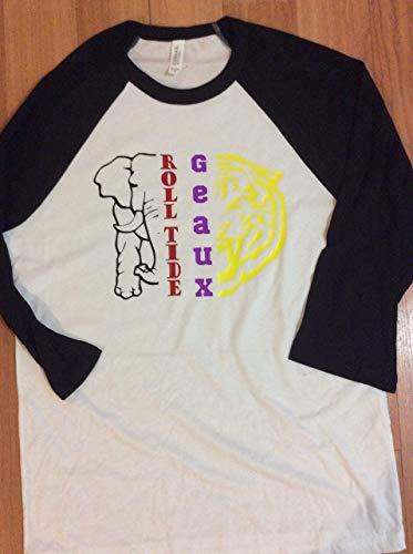 Handmade House Divided College Football Shirt LSU Alabama Geaux Roll Tide Half Elephant Half Tiger