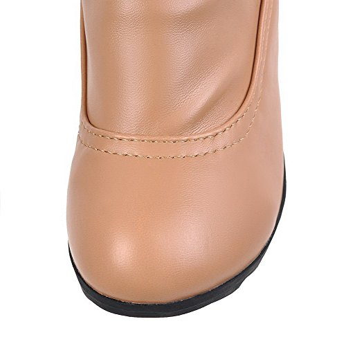 Women's Apricot On Pile Pull Toe Heels Boots AgooLar High Solid Round Lower PzRw7xqd