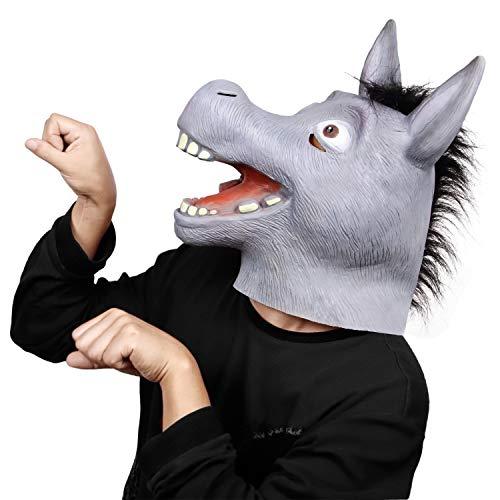 (Unisex Novelty Halloween Cosplay Funny Animal Cartoon Donkey Full Head Latex Mask Animal Party)