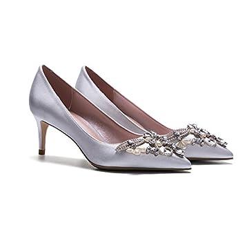 YIXINY Pumps LH-2885 Einzelne Schuhe Frau Seide + PU Hand Eingelegt Strass Perle Gut Ferse Spitz Flacher Mund...