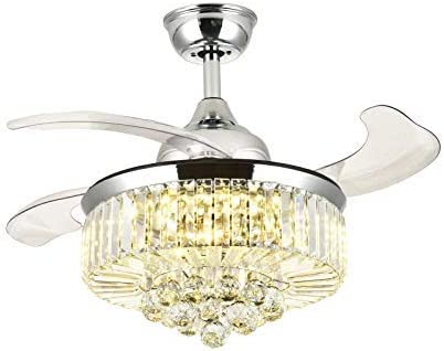 Retractable Ceiling Fans with Lights and Remote Invisible Crystal Chandelier Lighting Dimmable LED 3 Color Changing Chrome Finish 36