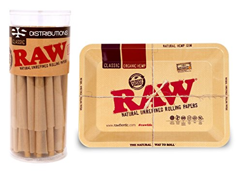 RAW Classic King Size Pre-Rolled Cones with Filter Tips - Bundle (50 Pack and Mini Rolling Tray) by RAW