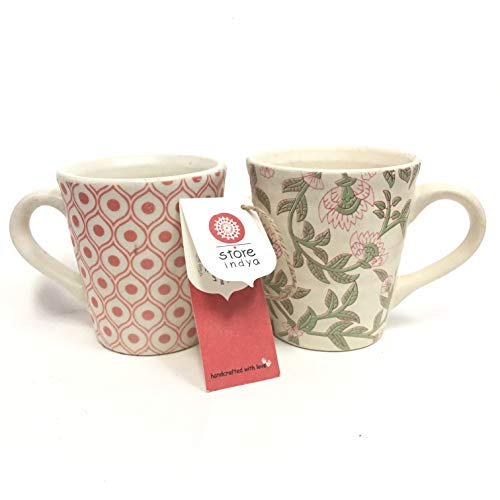 Store Indya Handcrafted Ceramic Tea Coffee Mugs Set of 2 Studio Pottery Cup Vivacious Floral Pattern Kitchen Dining Serve Ware Accessories (Multicolor)