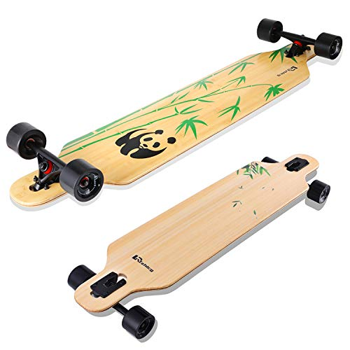 Lrfzhicg Drop Through Longboard 42 Inch Bamboo Downhill Cruising Longboard Skateboards