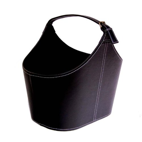 The Lucky Clover Trading Roosevelt Faux Leather Tote Basket with Buckle, Black (Black Faux Leather Magazine Basket)