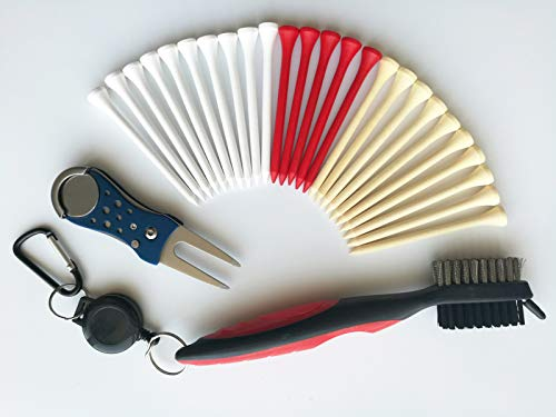 yamato Golf Tees, 250 Pack 3-1/4 Inch Wood Tees, Combo Pack Divot Tool and Club Cleaning Brush.