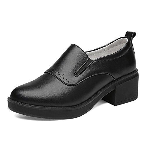 Zapatos de primavera/Talones ásperos/Zapatos de trabajo/Trabajo zapatos negro de las mujeres A