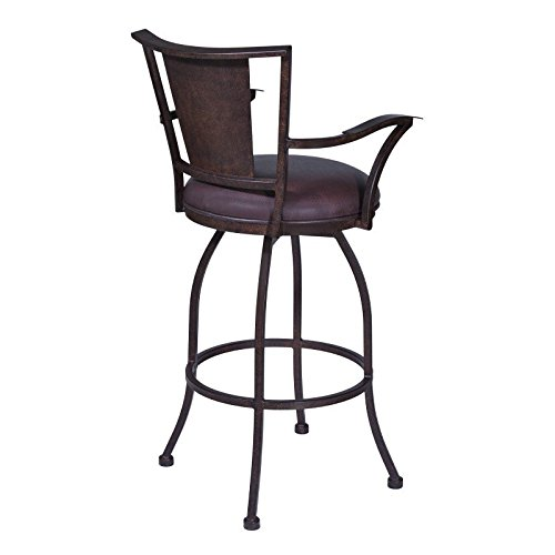 Armen Living Lcdyn30arbabr Dynasty 30 Bar Height Barstool In Brown Faux Leather And Auburn Bay Finish